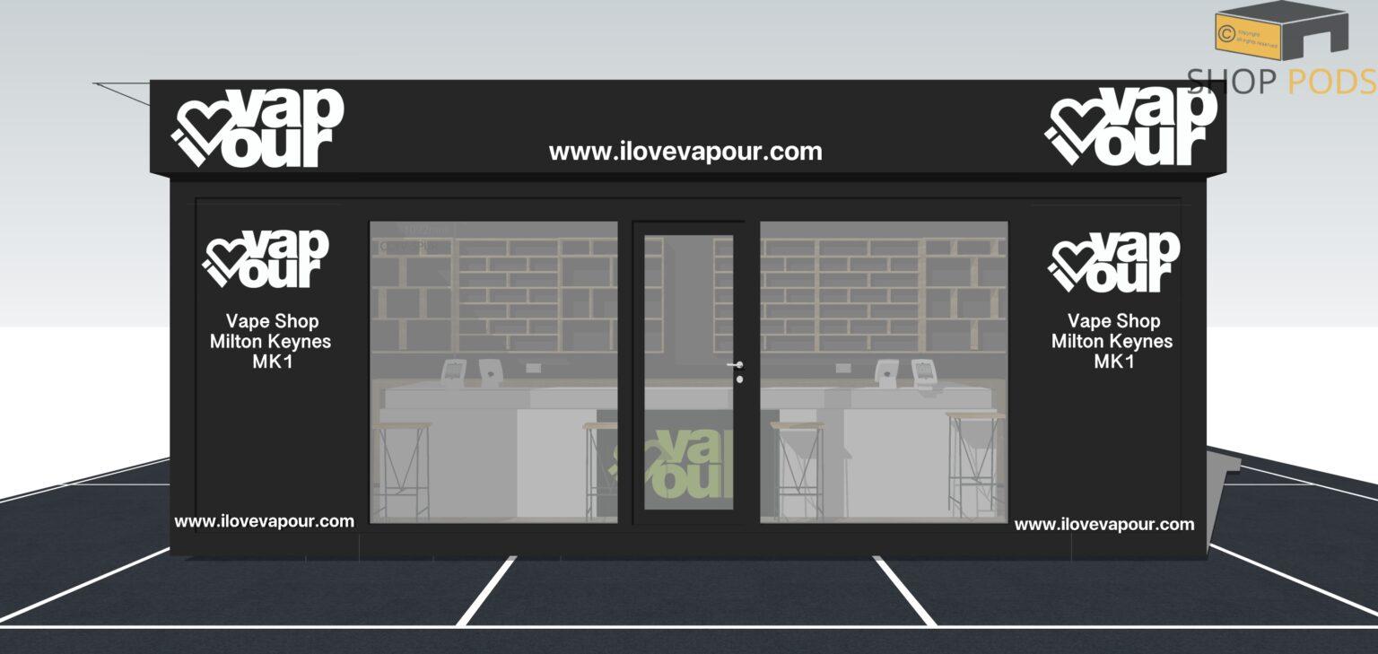 I Love Vapour - POD 6.8m x 3.4m Front View