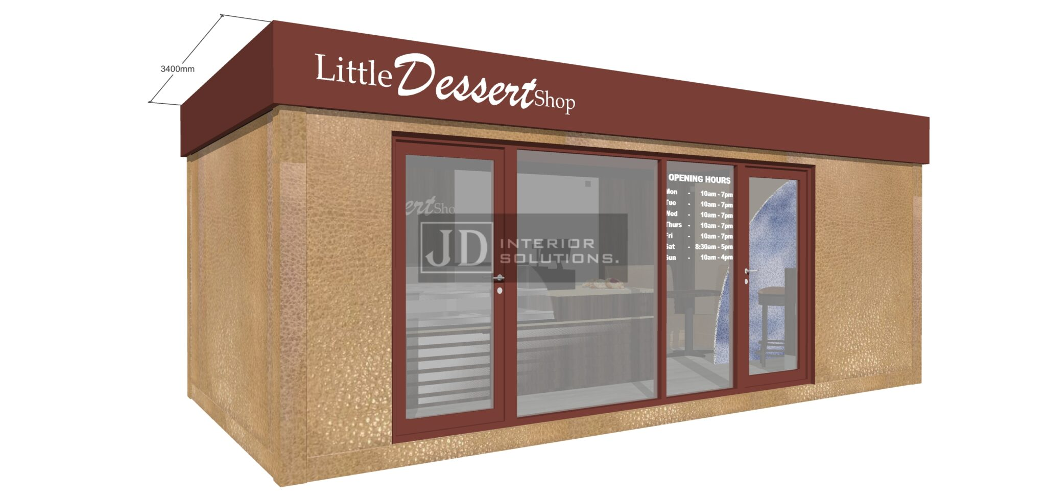 Little Dessert Shop Seating Option 2- 6.8m x 3.4m POD
