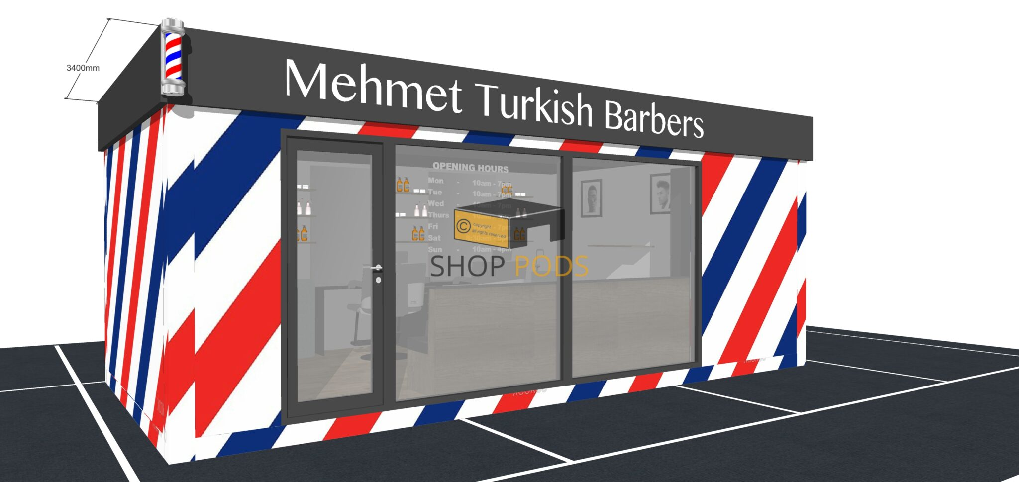 Mehmet Turkish Barbers - 6.8m x 3.4m